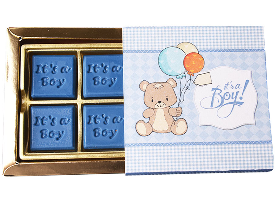 Classic Boy, 4 Pcs Customized Belgian Chocolate