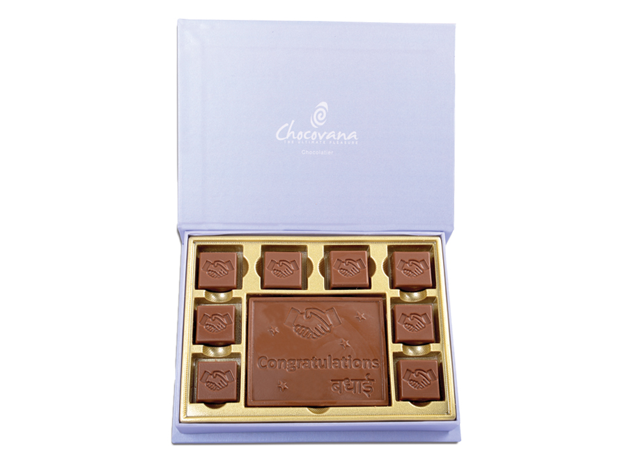 Congratulations Gracious, 8 Pcs + 1 Bar In Customized Belgian Chocolate