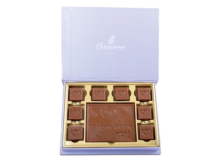 Gracious Congratulations, 8 Pcs + 1 Bar In Customized Belgian Chocolate