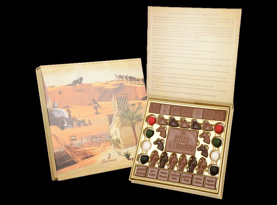 UAE Heritage, 37 Pcs + 1 Bar In Customized Belgian Chocolates