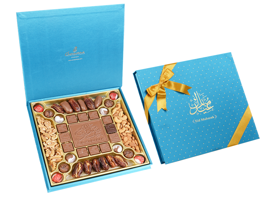 Premium Arabica, 24 Pcs + Bar In Customized Belgian Chocolates With Dates And Mix Nuts