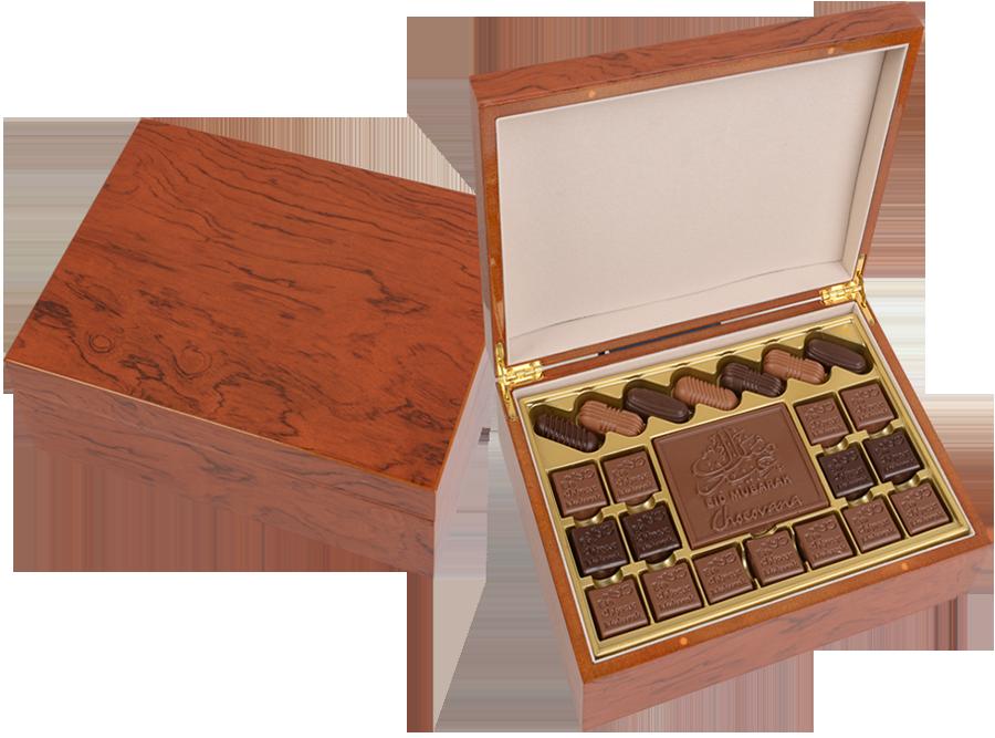 Grand Bella Arabica, 22 Pcs + Bar In Customized Belgian Chocolate In A Wooden Box