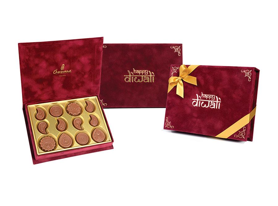 Gracious Diwali, 12 Pcs Customized Belgian Chocolate