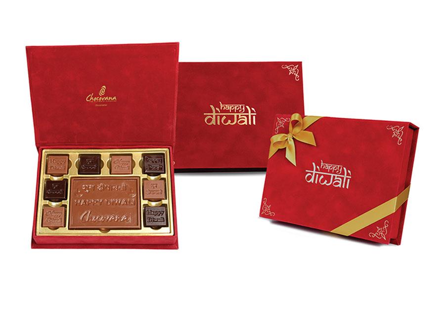 Gracious Bar Diwali, 8 Pcs + Bar In Customized Belgian Chocolate