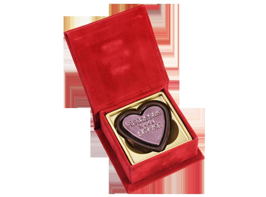 Double Heart Favour, 2 Pcs Customized Heart Belgian Chocolates