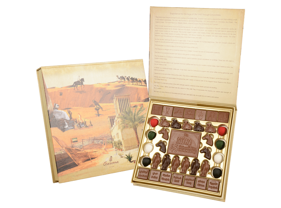 UAE Heritage, 37 Pcs + 1 Bar In Customized Belgian Chocolates