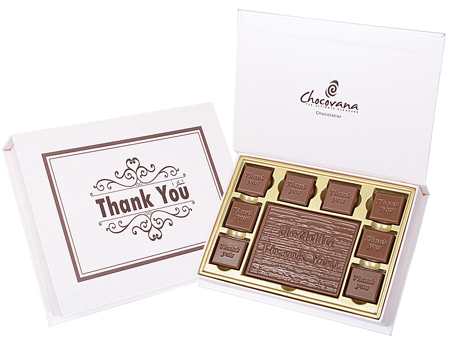 Thank You, 8 Pcs + 1 Bar In Customized Chocolate