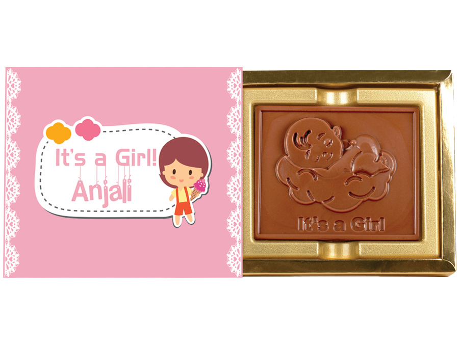 Greeting Bar Girl, 1 Pc Bar In Belgian Chocolate