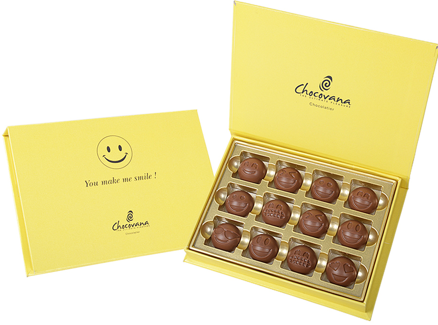 Gracious Emoji, 12 Pcs Customized Belgian Chocolate
