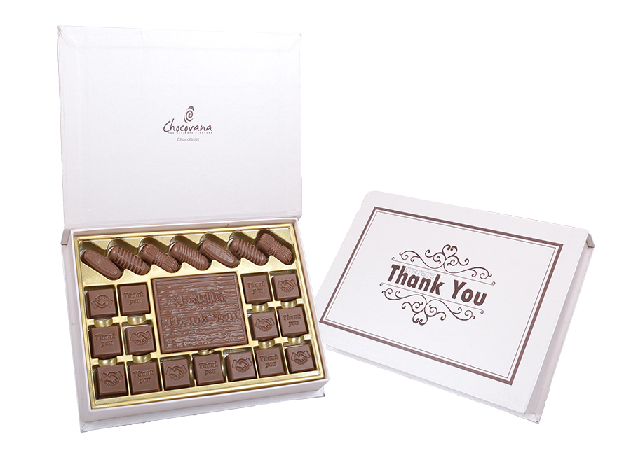 Bella Thank You, 22 Pcs + 1 Bar In Customized Belgian Chocolate