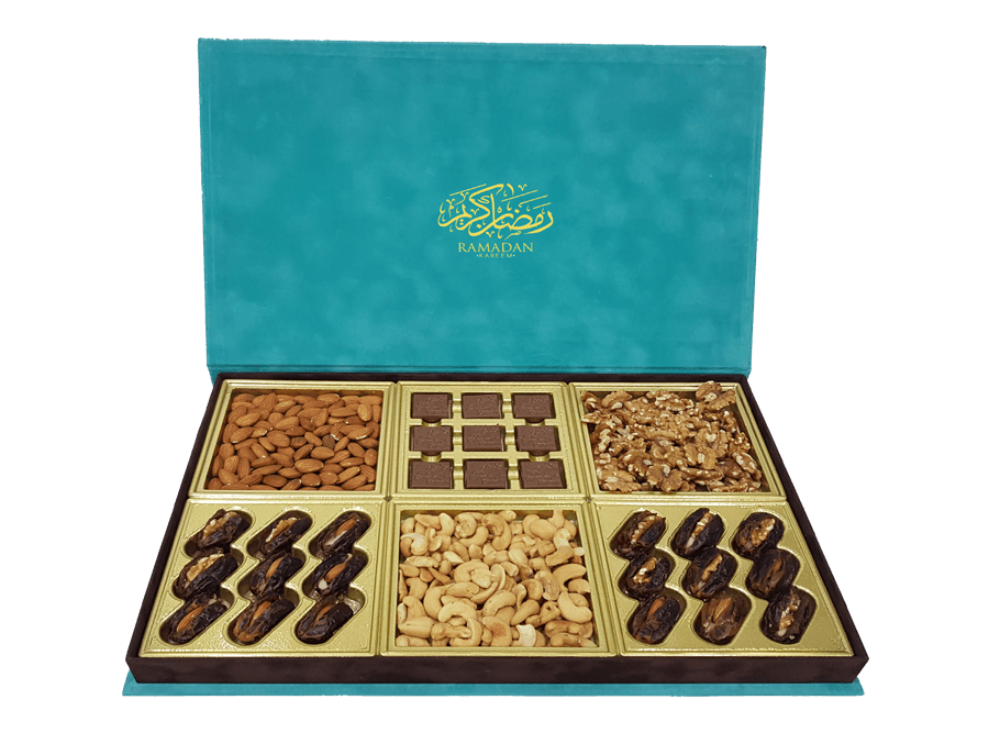 Grand Arabica Mix, 9 Pcs Customized Belgian Chocolates With 18 Dates & Mix Nuts