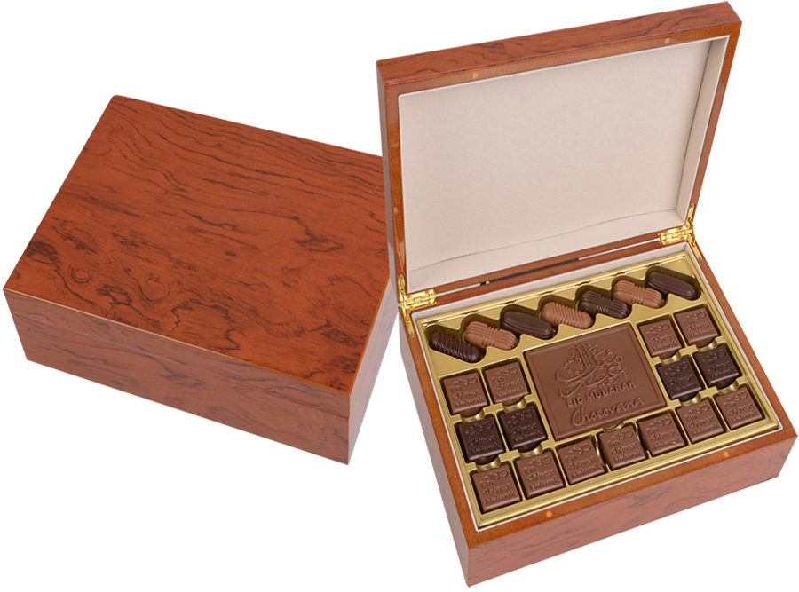 Grand Bella Arabica, 22 Pcs + Bar In Customized Belgian Chocolate In A Wooden Box